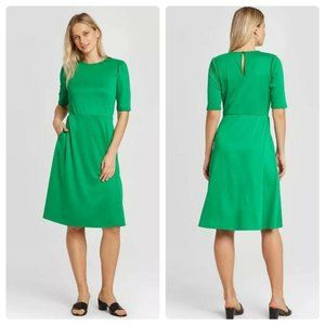 Who What Wear Dress Green Short Sleeve XS NEW NWT